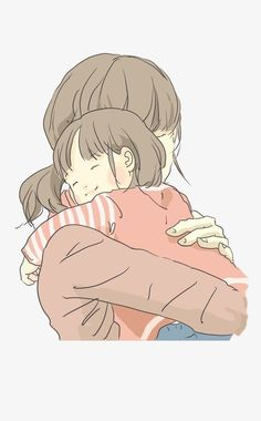 and baby animation (notitle) Hugging Drawing, Mom Drawing, Mother And Daughter Drawing, Mother Art, Mom Daughter, Kids Hugging, Hug Illustration, Mother Painting, Anime Family