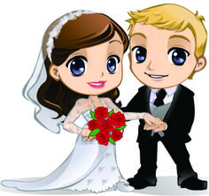 Dibujos. Clipart. Digi stamp - Novios. Bodas. Wedding.