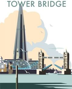 Tower Bridge and The Shard, London.  By Illustrator Dave Thompson wholesale fine art print