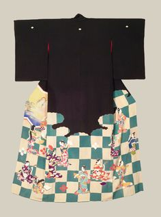 """Meiji Geisha Hikizuri - Meiji era (1868-1911). A rare style of Geisha antique dancing kimono featuring yuzen-dyed pictures of geishas dancing and playing music. Occasional touches of embroidery. Five mon.  52"""" from sleeve-end to sleeve-end x 71"""" height."""
