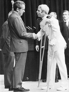 Above, President Nixon welcomes ex-POW John McCain home in The passing of Sen. John McCain has left me with mixed feelings. American Presidents, Us Presidents, American History, American Soldiers, American Pride, Hanoi, Presidential Libraries, Presidential History, Prisoners Of War