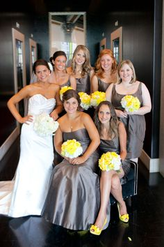 grey and yellow bridesmaids.