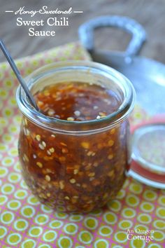 Easy Honey-Sweetened Homemade Sweet Chili Sauce made with dried chili flakes: http://anoregoncottage.com/homemade-sweet-chili-sauce-with-honey-dried-chili-flakes/