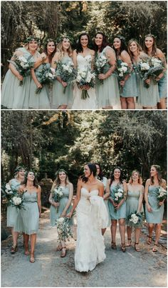 Seafoam green bridal party, short bridesmaid dresses, leafy crowns, natural white floral wedding bouquets // Alyssa Luzaich Photography