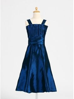 A-Line/Princess Scalloped Neck Tea-Length Taffeta Junior Bridesmaid Dress With Ruffle (009015890) - JJsHouse