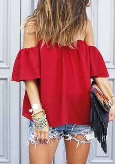 Red Plain Bandeau Collarless Fashion Polyester Blouse