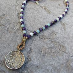 Necklaces - Communication And Healing, Amethyst And Amazonite Beaded Necklace With Tibetan Pendant, 108 Bead Mala
