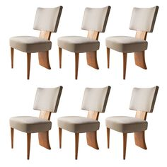 Set Of 6 Swedish Art Deco Dining Chairs In Elm Featuring 3 Legs. | From a unique collection of antique and modern dining room chairs at http://www.1stdibs.com/seating/dining-room-chairs/