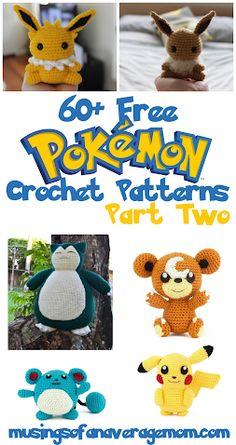 More than 60 Free Pokemon Crochet Patterns - Part Two, characters from M - Z Pokemon Crochet Pattern, Pikachu Crochet, Kawaii Crochet, Crotchet Patterns, Crochet Amigurumi Free Patterns, Crochet Toys, Free Crochet, Beginner Crochet Tutorial, Pokemon Eevee
