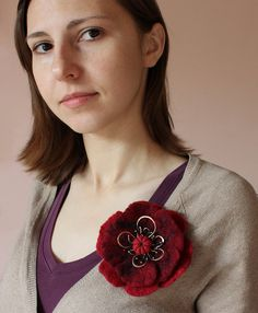 #SALE #Felted #flower #brooch #OOAK  #red #shawl #pin #fall #autumn #copper #scarf by wirefoxjewellery