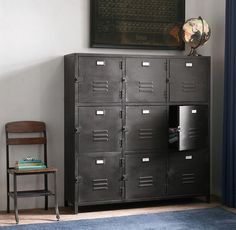 RH Baby & Child's Vintage Locker Cabinet:As sturdy as the all-American originals that inspired it, the Vintage Locker collection has authentic details like vented cabinet fronts and an antiqued finish for a timeworn feel. Staff Lockers, Vintage Lockers, Cabinet Fronts, Ideas Hogar, Industrial Style, Industrial Storage, Industrial Lamps, Industrial Furniture, Vintage Industrial