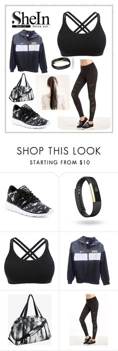 """Black Leggings"" by bindisydney ❤ liked on Polyvore featuring adidas, Fitbit and NIKE"