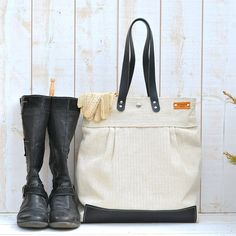 Handmade BEST SELLER Diaper bag / Messenger bag  Eco friendly ORGANIC Linen French tote bag with BlackLeather strap 10 Pockets and zipper