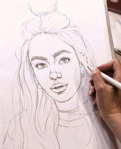 La imagen puede contener: dibujo sketchbooks в 2019 г. art s Portrait Sketches, Art Drawings Sketches, Easy Drawings, Pencil Portrait, Portrait Art, Pencil Drawings Of Girls, Arte Sketchbook, Human Art, Drawing People