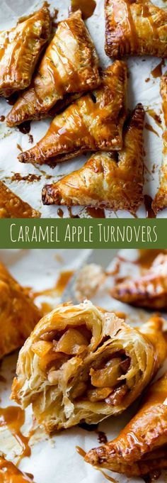 Super easy, flaky hot apple turnovers with delicious salted caramel on top! Recipe on http://sallysbakingaddiction.com