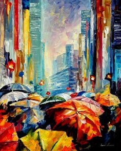 Leonid Afremov Umbrellas Palette Knife Contemporary Art Cityscape Oil Painting on Canvas, 24 by Umbrella Painting, Umbrella Art, Umbrella Cover, Knife Painting, Oil Painting On Canvas, Painting Gallery, Artist Painting, Canvas Art, Colorful Paintings