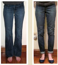 Jeans Refashion tutorial: Flared to straight leg