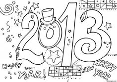 New Year 2013 Printable coloring Pages - Printable Coloring Pages For Kids