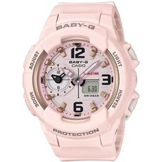 G-Shock Women's Analog-Digital Baby-g Pink Resin Strap Watch 49mm... ($120) ❤ liked on Polyvore featuring jewelry, watches, pink, digital and analog watches, g shock watches, analog digital watches, pink jewelry and g shock wrist watch