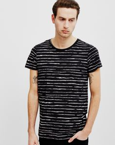 Cheap Monday Cap Crayon Stripe T-Shirt Black | Shop men's clothing at The Idle Man