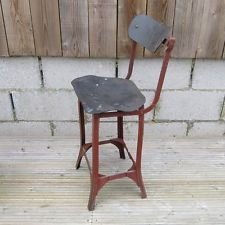 1920 50s Industrial Metal Steampunk Factory Bar Stool Chair Seat Old Vintage Red