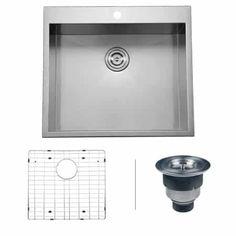 Ruvаtі Single Bowl Kitchen Sinks - RVH8010 Overmount 16 Gauge 25 Inch