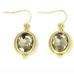 Ohrring Ohranhänger oval Kristall gold hellbraun