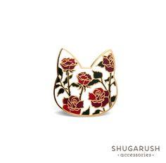 Rose Cat Enamel Pin