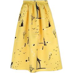 Rochas Long Skirt (£835) ❤ liked on Polyvore featuring skirts, yellow, pleated skirt, multi colored maxi skirt, pleated maxi skirt, long yellow skirt and maxi skirt