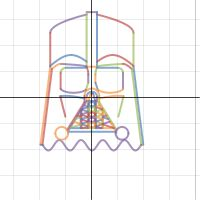 The force is strong with this one! Here is Star Wars' own Darth Vader designed by yuktak2012 in 102 equations. Great work - a list of the equations used is posted here: www.desmos.com/calculator/jjcwehccx0