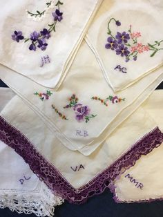 Personalize Your Bridesmaids' Gifts!  CUSTOM HAND-embroidery is available for Our Shop's 550+ Vintage Hankies for purchase!  In this photo, the Bride wanted the Bridesmaids' Initials on each purple vintage Hankie. VISIT OUR ON-LINE SHOP:  VintageStoryLinens.etsy.com.