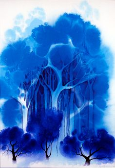 Blue Forest - watercolor