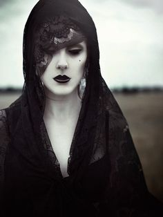 woman black cape goth - Google Search