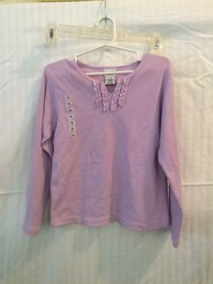 Girls Lavender Pull Over Top Mini Neckline Ruffles by Ponytails 7/8 NWT #Ponytail