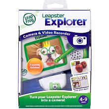 LeapFrog Leapster Explorer Camera & Video Recorder Age: 4 years and up The LeapFrog Leapster Explorer Camera & Video Recorder features:  Take, edit and store up to 1000 pictures. Stretch, stamp and draw on pictures and use them in activities. Build spatial reasoning skills by unscrambling personalized photo puzzles. Become a photojournalist and hunt for pictures to match assignments in 8 missions.