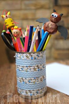 Bat Pencil Topper - made from Buckeyes / Horse Chesnuts / Conker crafts