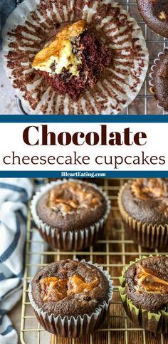 Best chocolate cheesecake cupcake recipe! These black bottom cupcakes have moist chocolate cake filled with chocolate chip cheesecake filling.