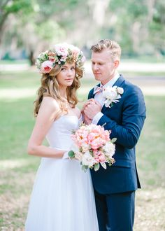 This bride's oversized floral crown gives off such a romantic vibe.