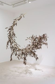 Gabriel Orozco - Roiseau 7 (2012), installation of a bamboo branch and bird feathers