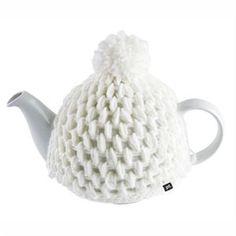 CAFETIERE - THEIERE - CHOCOLATIERE TEA COZY Théière céramique et laine blanche