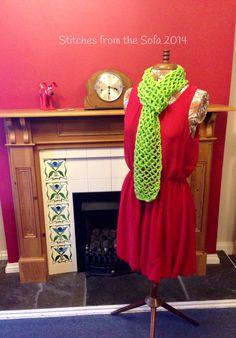 Crochet summer scarf lime