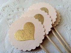 10 Heart Cupcake Toppers in Blush and Gold.  Extra Long Elegant Topper for Wedding, Bridal or Baby Shower, Birthday Parties on Etsy, $8.50