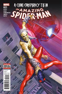 Story: Dan Slott & Christos Gage Art: Giuseppe Camuncoli Cover: Alex Ross Publisher: Marvel Publication Date: November 16th, 2016 Price: $3.99  CLONE CONSPIRACY TIE-IN! THE RETURN OF CARRION puts the Scarlet Spider in BIG TROUBLE! Where has Kaine been since SPIDER-VERSE and what does he have to do with the Jackal's plan?!
