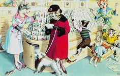 Eugene Hartung Artist Signed Mainzer Dressed Cats Shop Greeting Cards Postcard Dressed cats fantasy by artist Eugen Hartung with kittens wrecking greeting card counter. Published by Alfred Mainzer, un