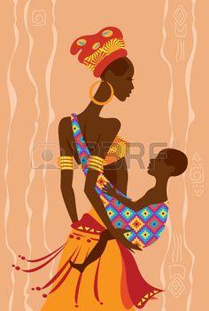 Ilustraci n vectorial de una hermosa madre africana y su beb en un cabestrillo Foto de archivo