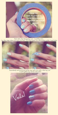 How to Use Tape To Create Designs On Your Nails!