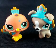 Littlest Pet Shop 1463 Pitbull Dog puppy 1462 Peacock Set LPS Toy HASBRO 2009