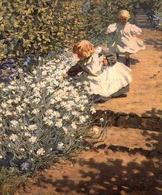 Helen McNicoll - Picking Flowers.  McNicholl was a Canadian impressionist painter.