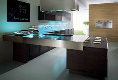Special Characteristic in Modern House Decor: Amazing Modern House Decor In Cool Mini Kitchen Using Oak Kitchen Breakfast Bar Modern Kitchen Hardware Also Double Kitchen Sink Black Board For Menu As Modern Interior Design ~ surrealcoding.com Interior Inspiration