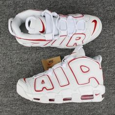 sale retailer 5a1a1 9289a Nike Air More Uptempo Girls White Varsity Red Kevin Durant Shoes, Shoe  Shop, Nike